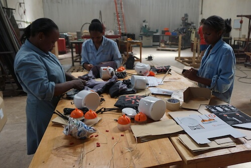 The GravityLight assembly line in Kenya